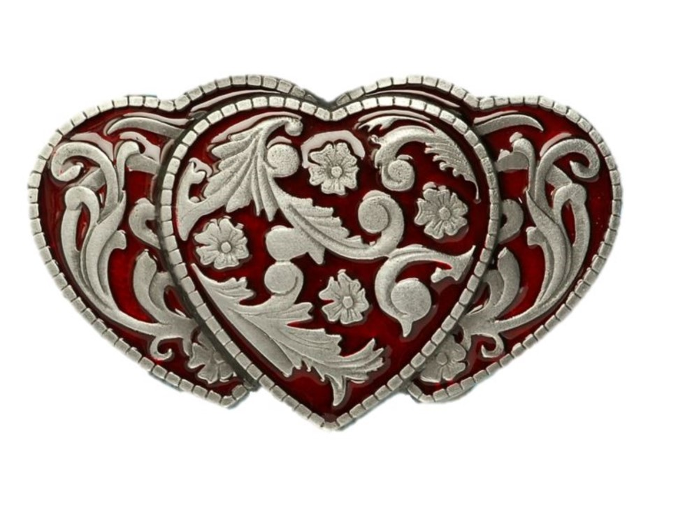 3 Hearts Red Belt Buckle