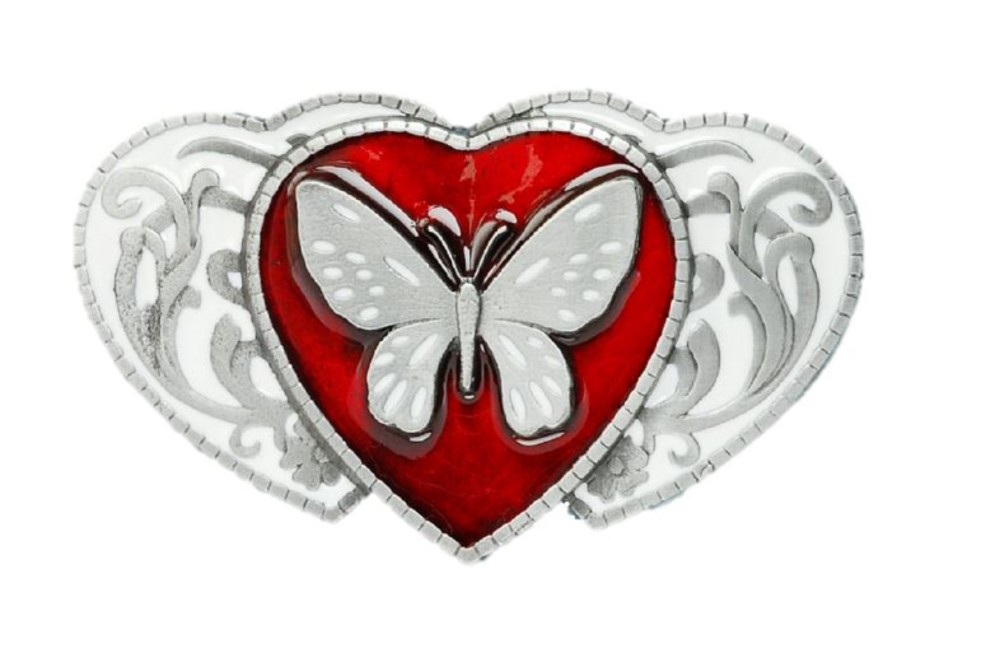 butterfly on hearts red