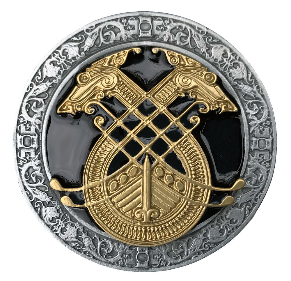 Celtic Long Boat Black & Gold Edition Belt Buckle