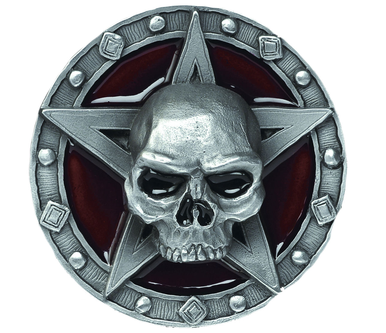 Skull Repent Red Belt Buckle