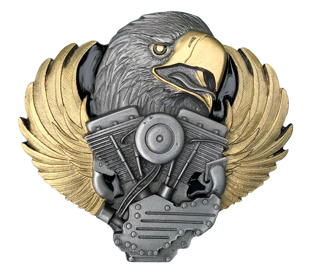 Eagle Head On Engine Black & Gold