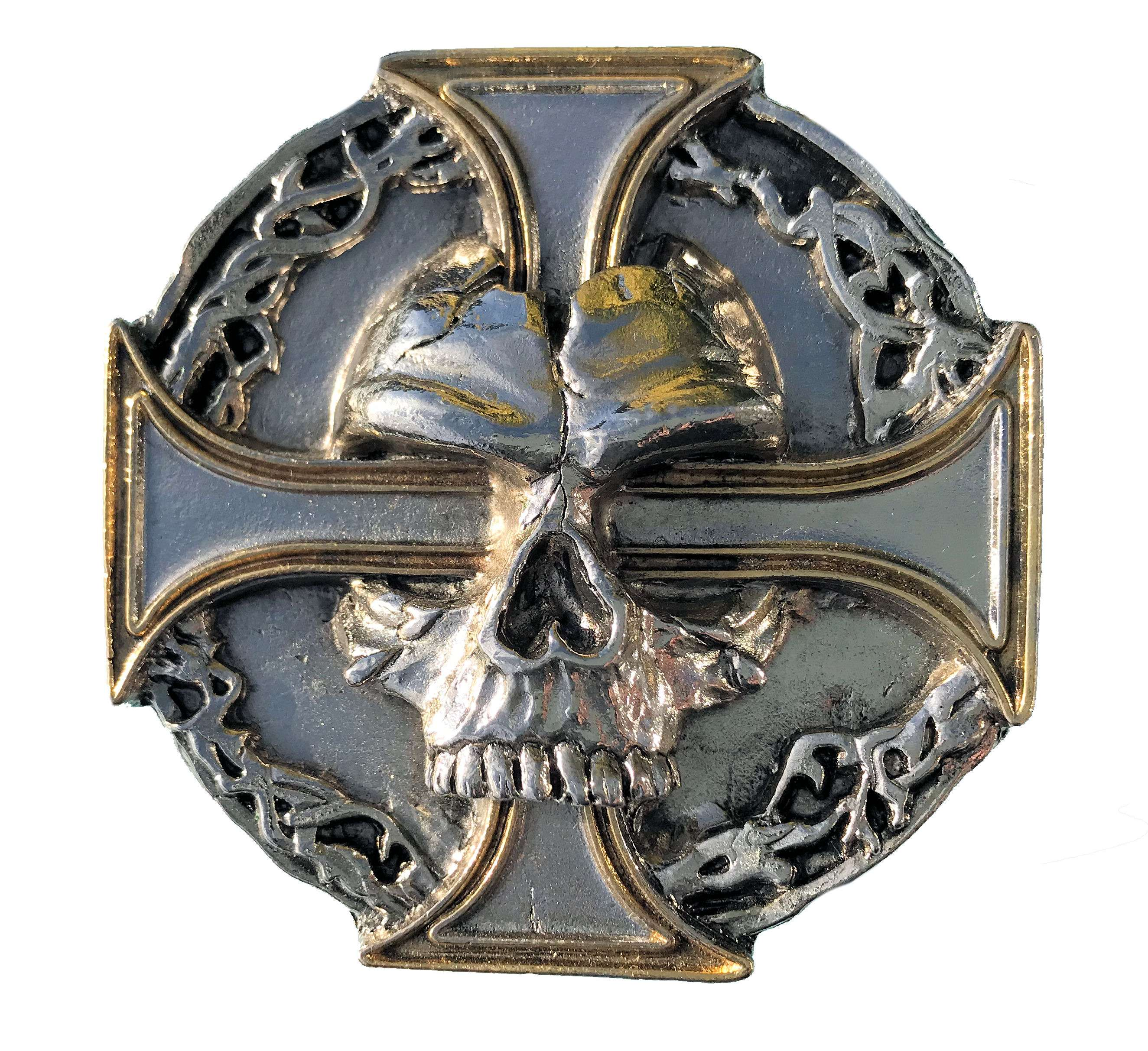Skull - Cross Gold - Silver Plated Belt Buckle