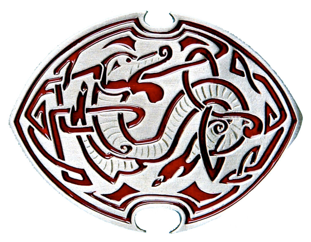Celtic Dragon - red Belt Buckle