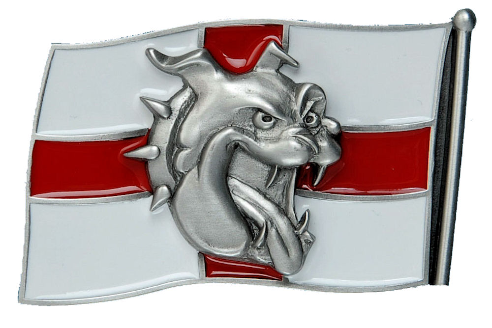 Bulldog Head - England Flag Belt Buckle