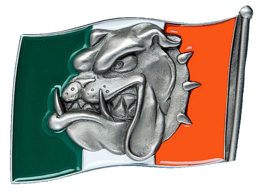Bulldog Head - Irish Flag Belt Buckle