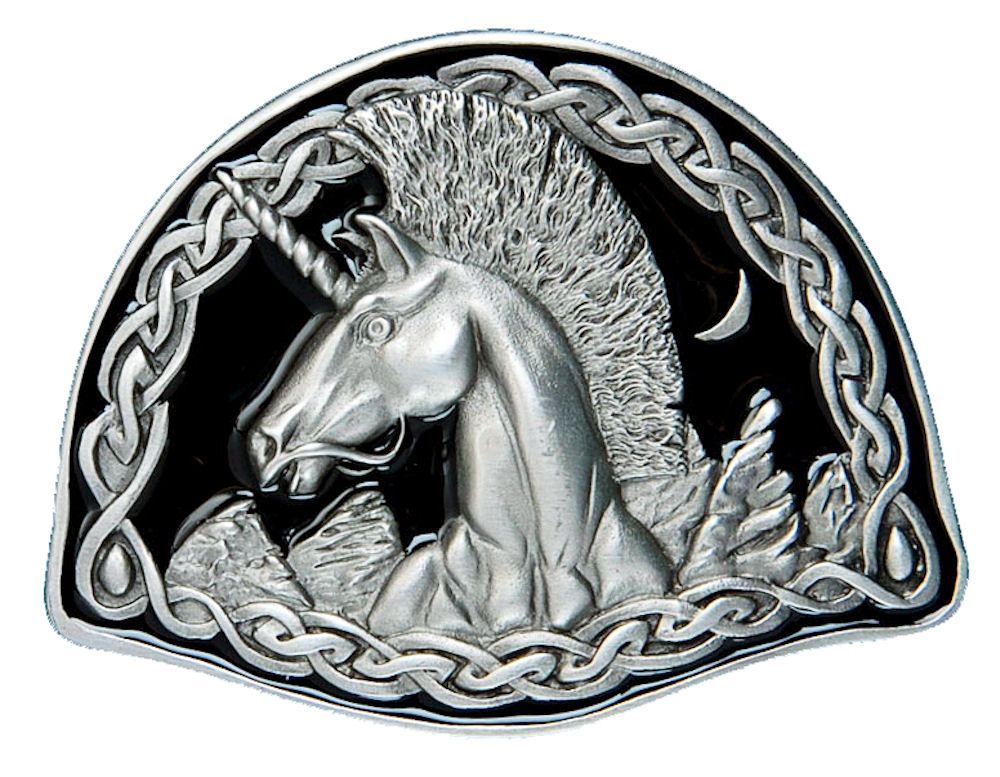 Celtic Unicorn - black Belt Buckle