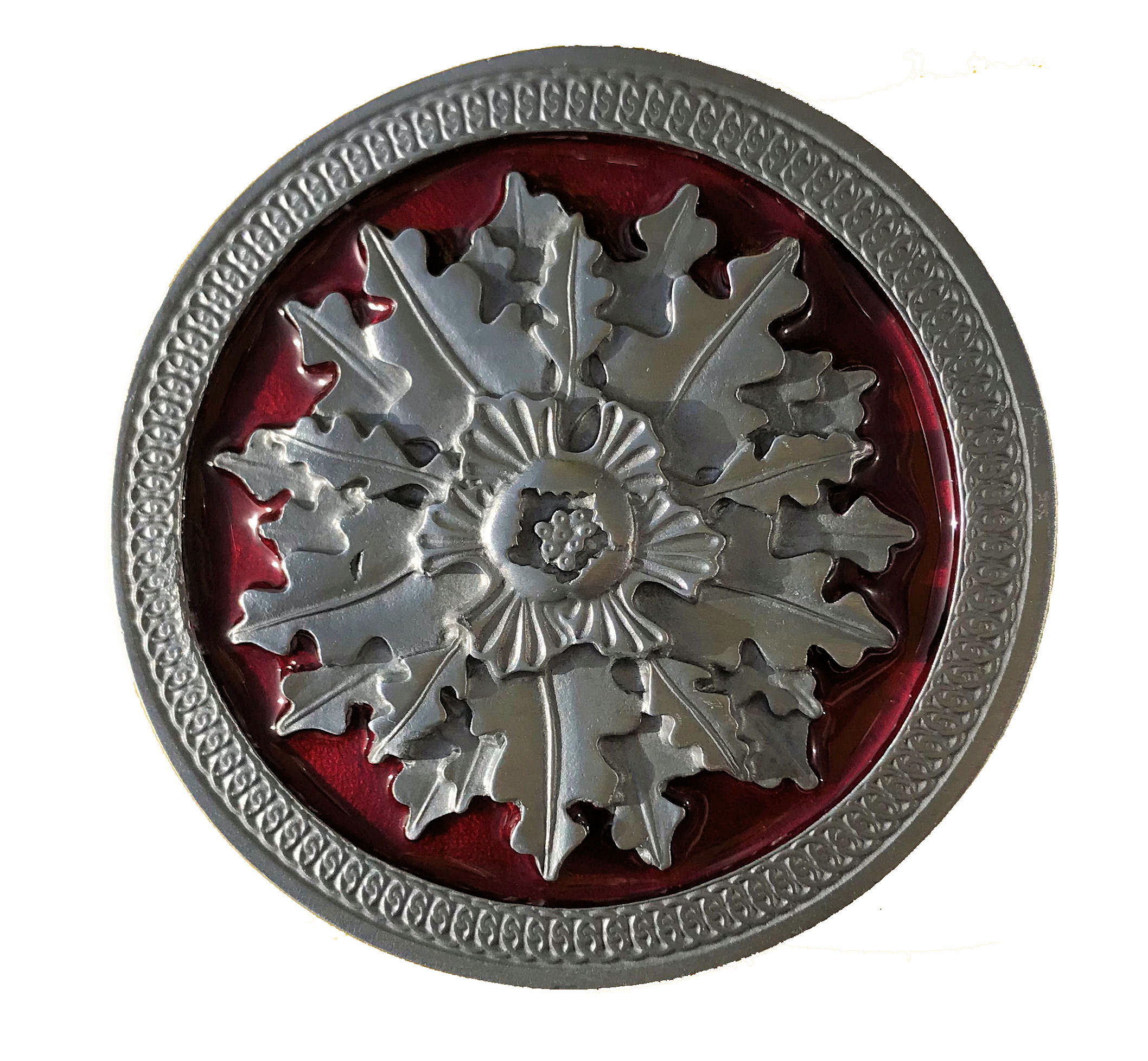 Acorn & Oak Leaf Red Belt Buckle