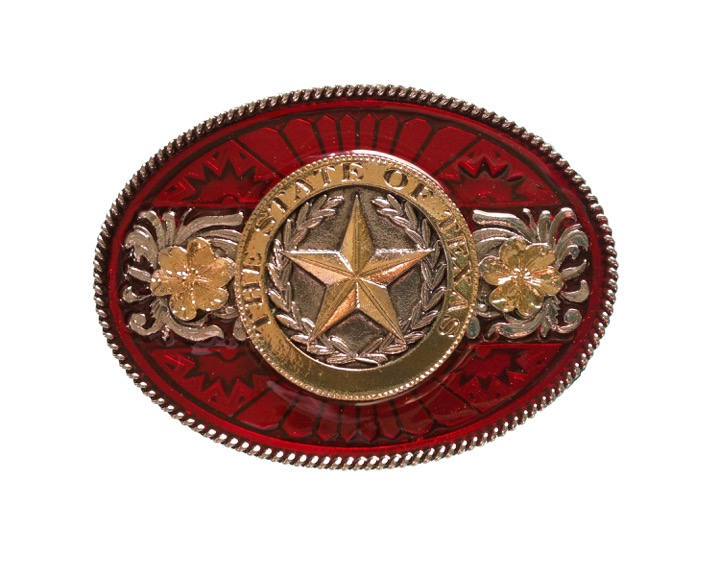 Texas Star Gold & Silver Plated Colour Belt Buckle