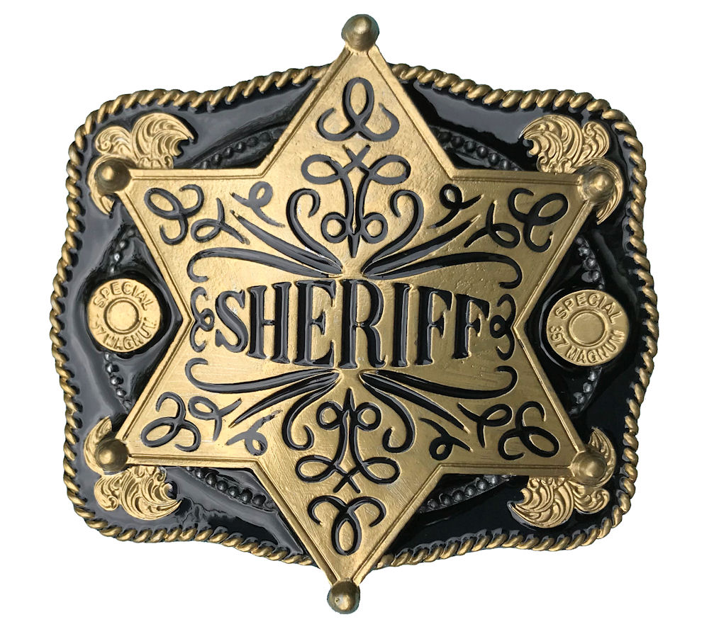 Sheriff Star Black & Gold Range Belt Buckle