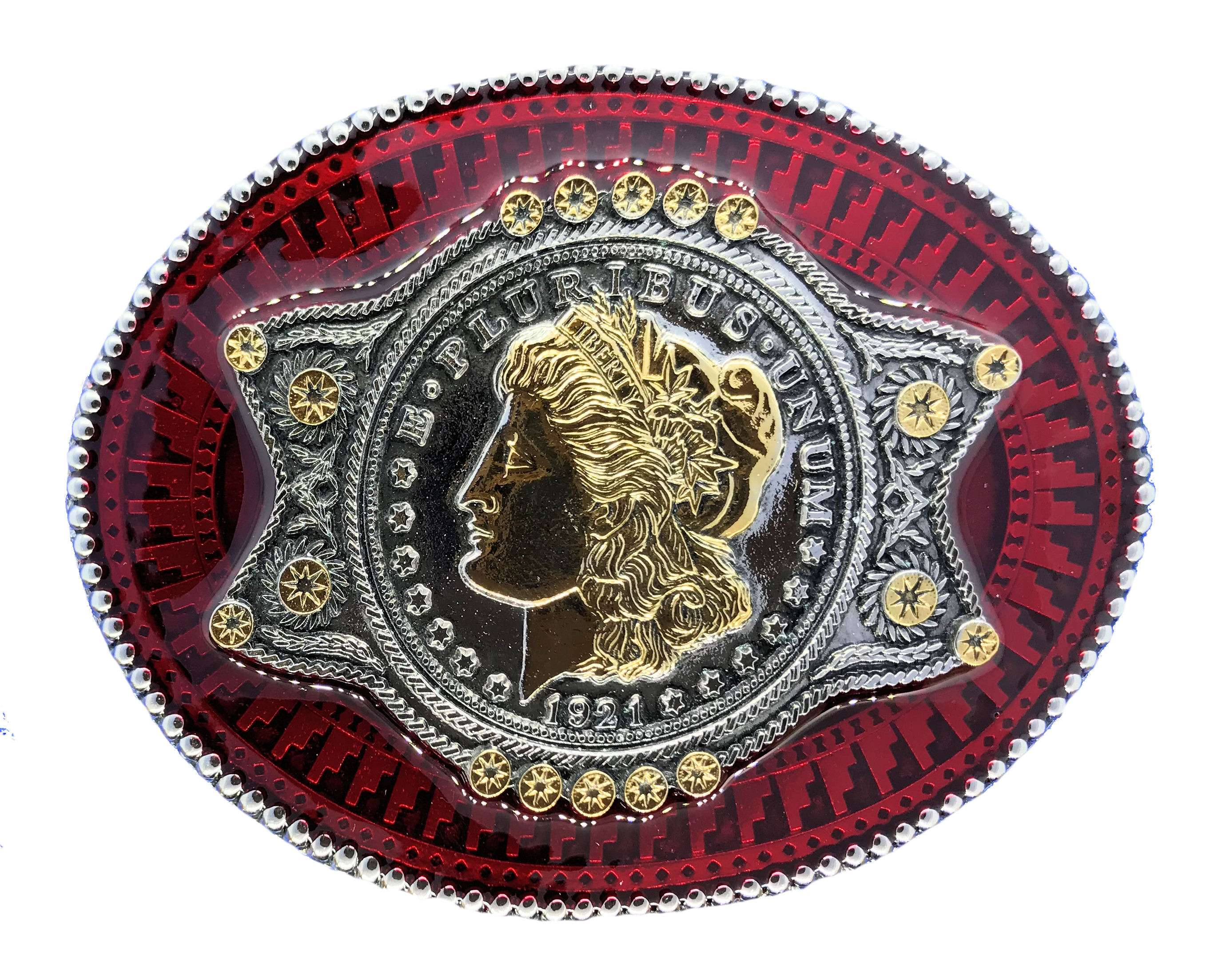 Oval Coin Gold & Silver Plated Colour Belt Buckle