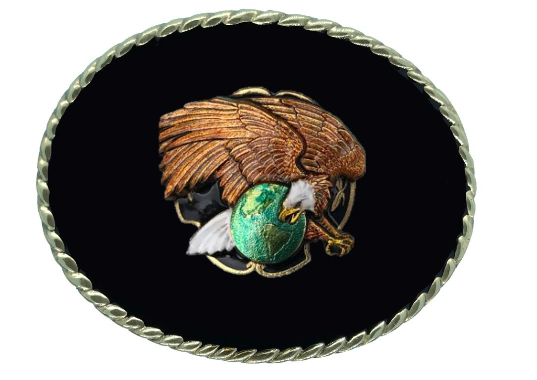 EAGLE ON GLOBE Belt Buckle Black Gold Colour