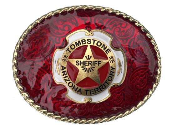 TOMBSTONE SHERIFF Belt Buckle Red Gold Colour