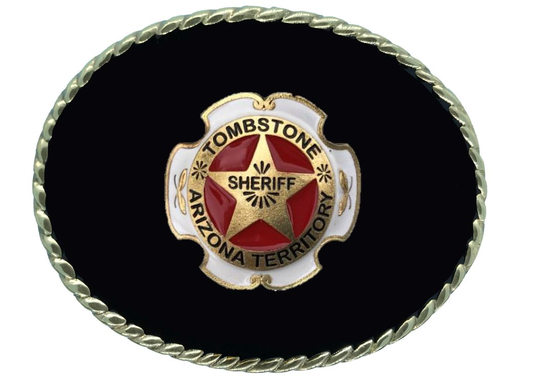 TOMBSTONE SHERIFF Belt Buckle Black Gold Colour