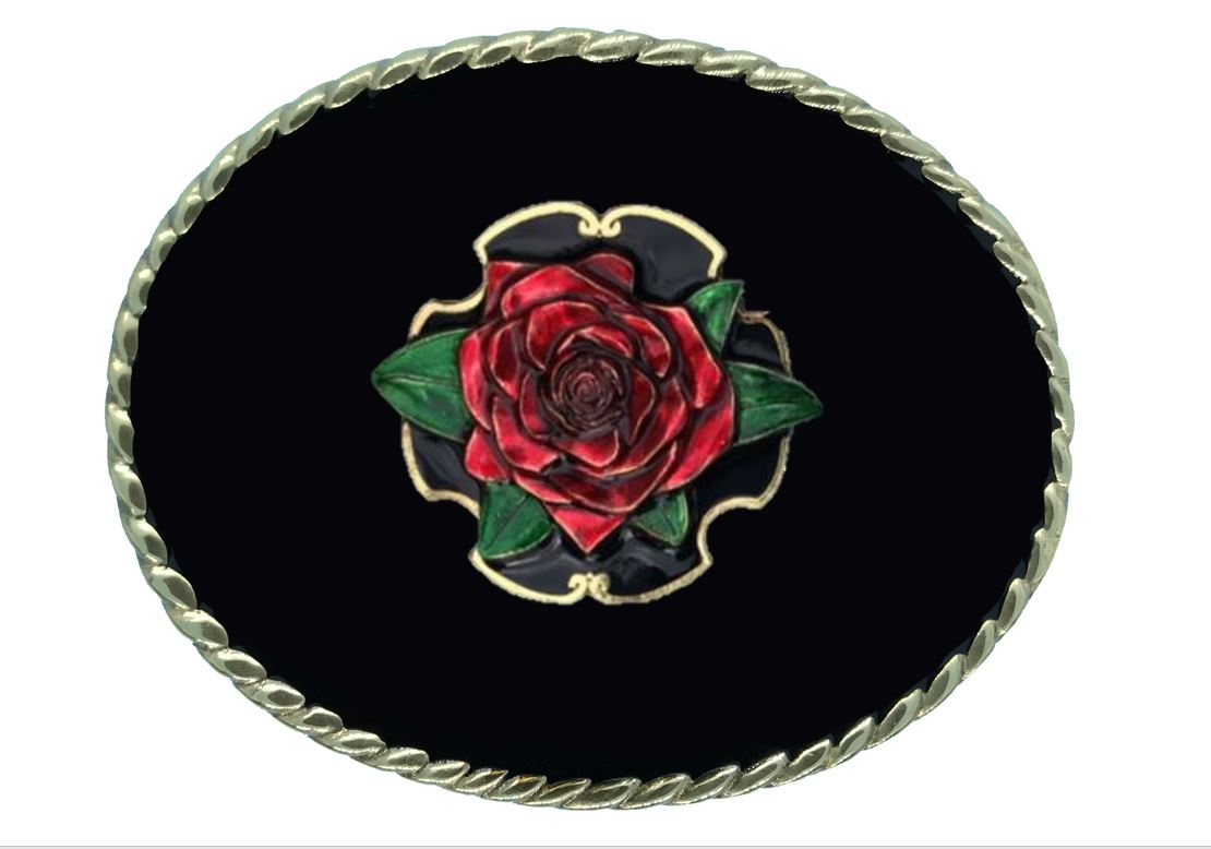 Rose Belt Buckle Black Gold Colour