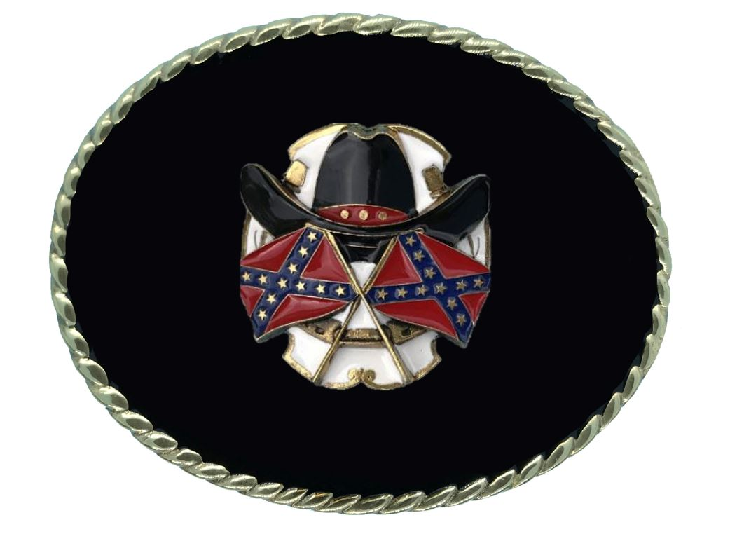 HAT AND FLAGS Belt Buckle Black Gold Colour