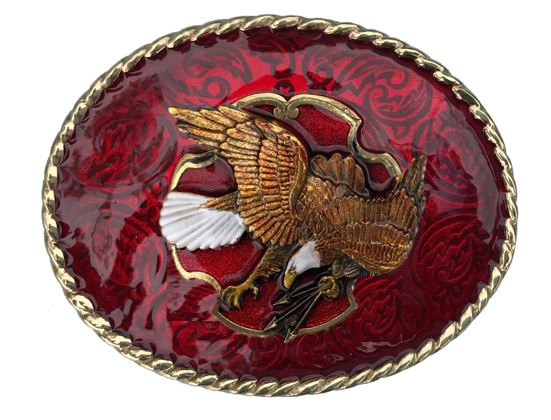 EAGLE WITH ARROWS Belt Buckle Red Gold Colour