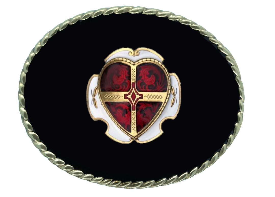 Heart Belt Buckle Black Gold & Silver Plated Colour