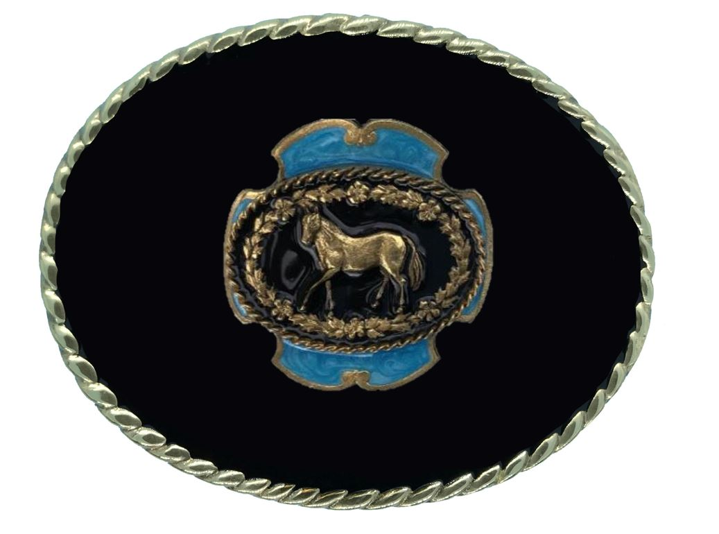 Horse Belt Buckle Black Gold Plated Colour
