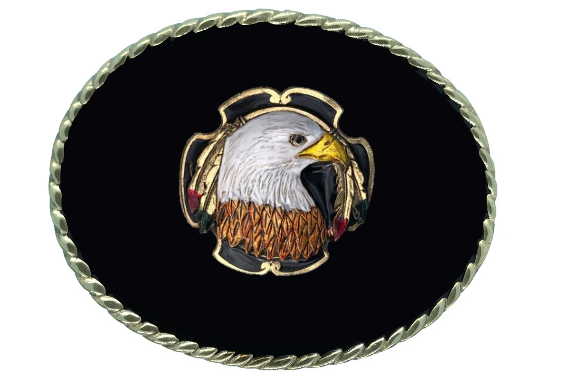 EAGLE HEAD Belt Buckle Black Gold Colour