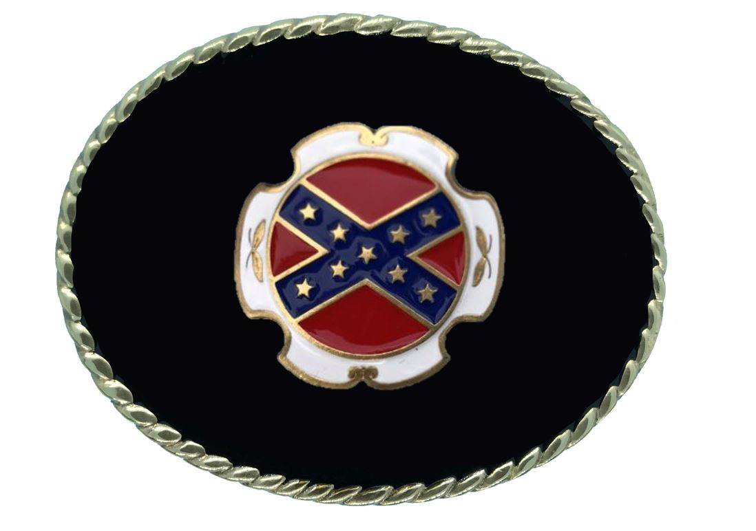 Rebel Flag Belt Buckle Black Gold & Silver Plated Colour