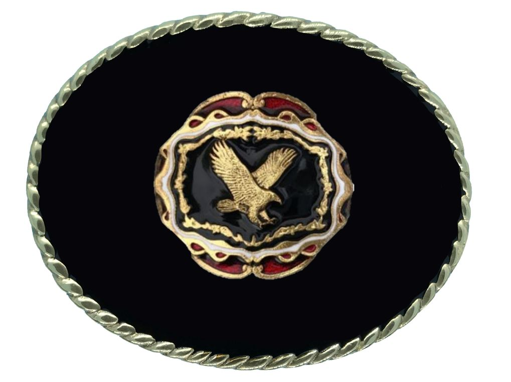 Flying Eagle Belt Buckle Black Gold Colour