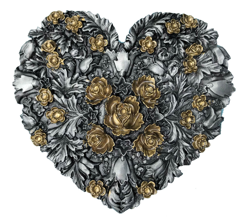 Hearts with Flowers Black & Gold Range