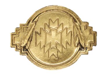 Aztec Deisgn Gold Plated Bolo Tie