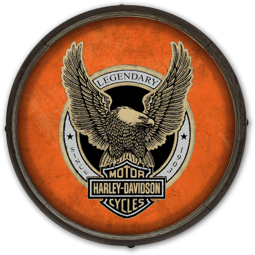 Harley Davidson Barrel End Sign with Eagle Logo