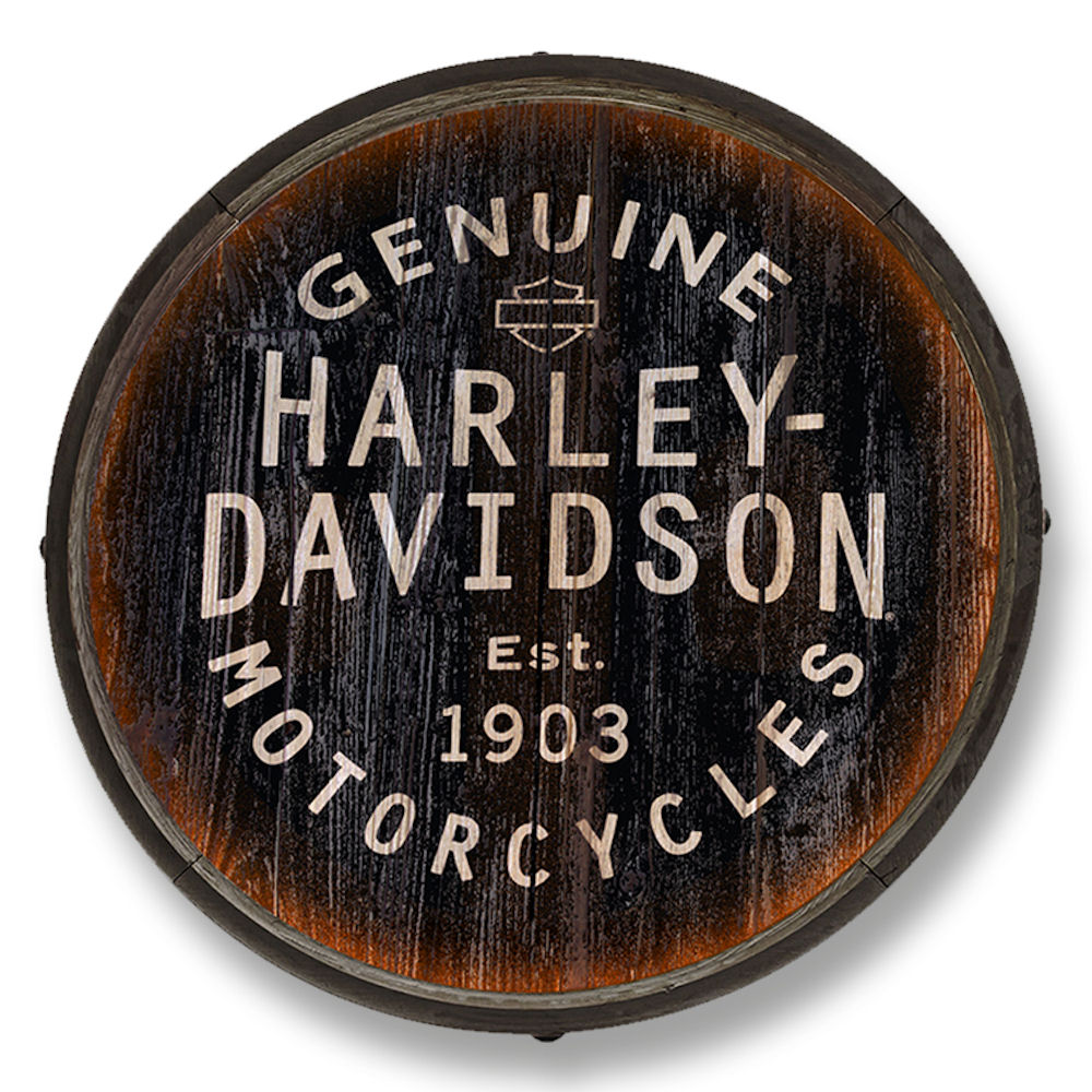 Harley Davidson Barrel End Sign Black Background