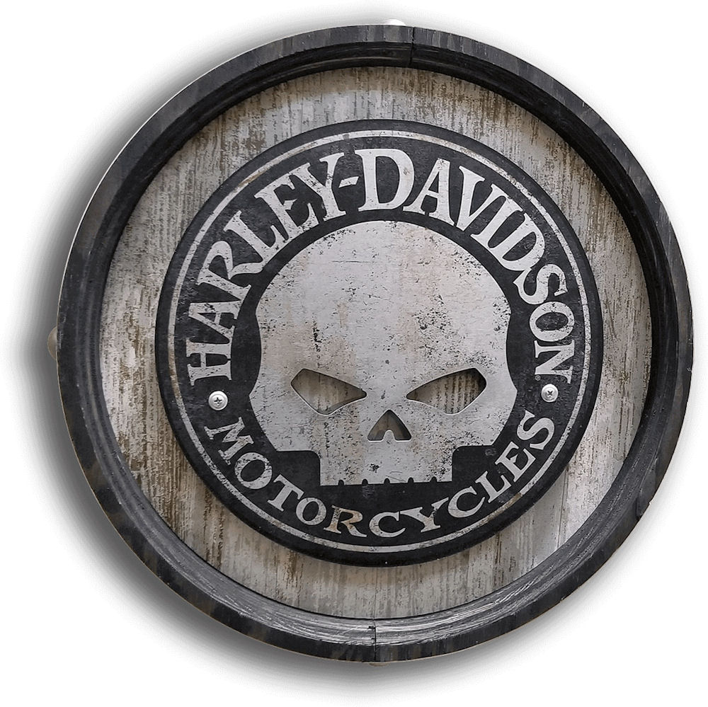 Harley Davidson Barrel End Sign with Aluminium Skull