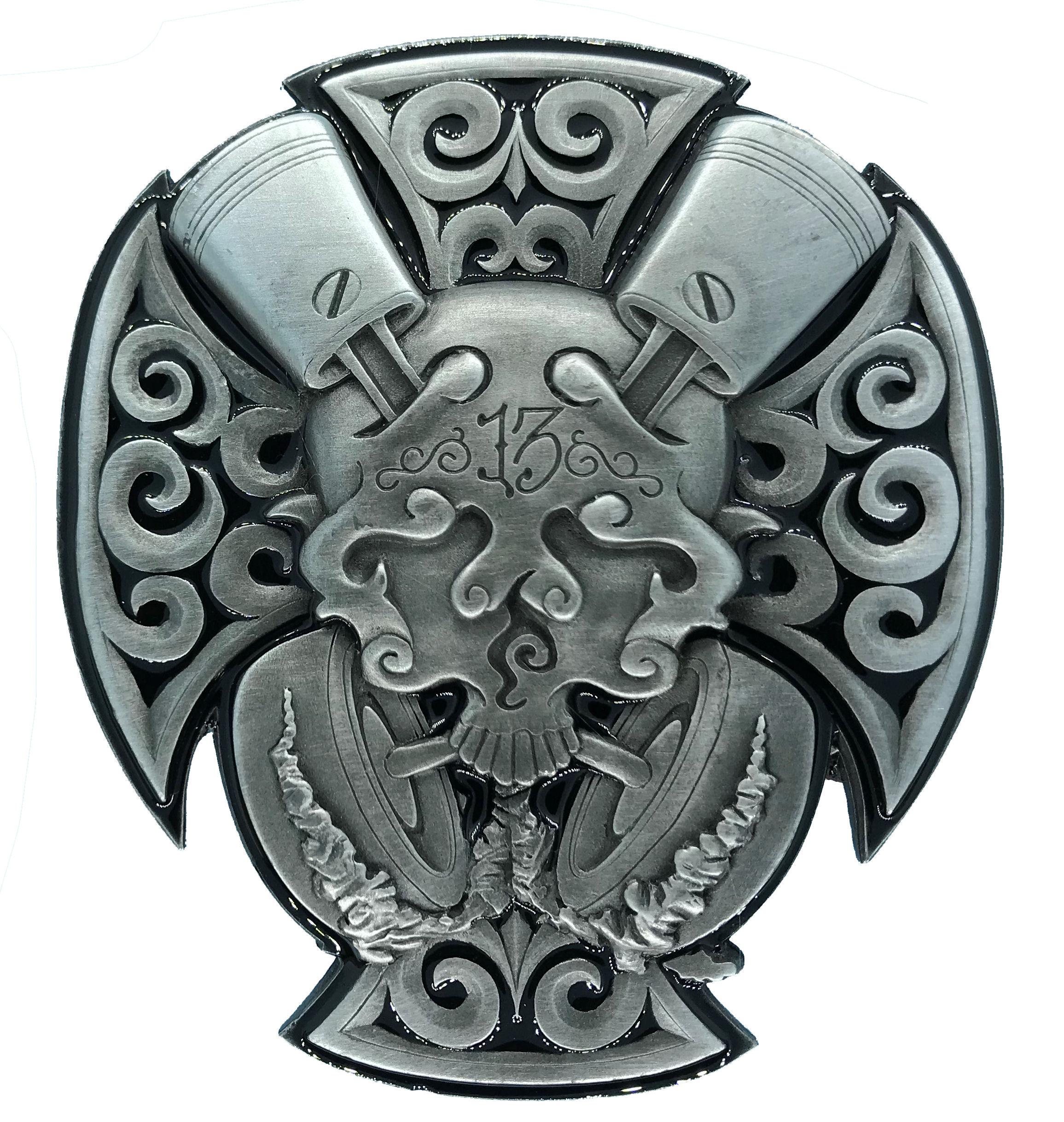 Skull and Pistons (large) Belt Buckle