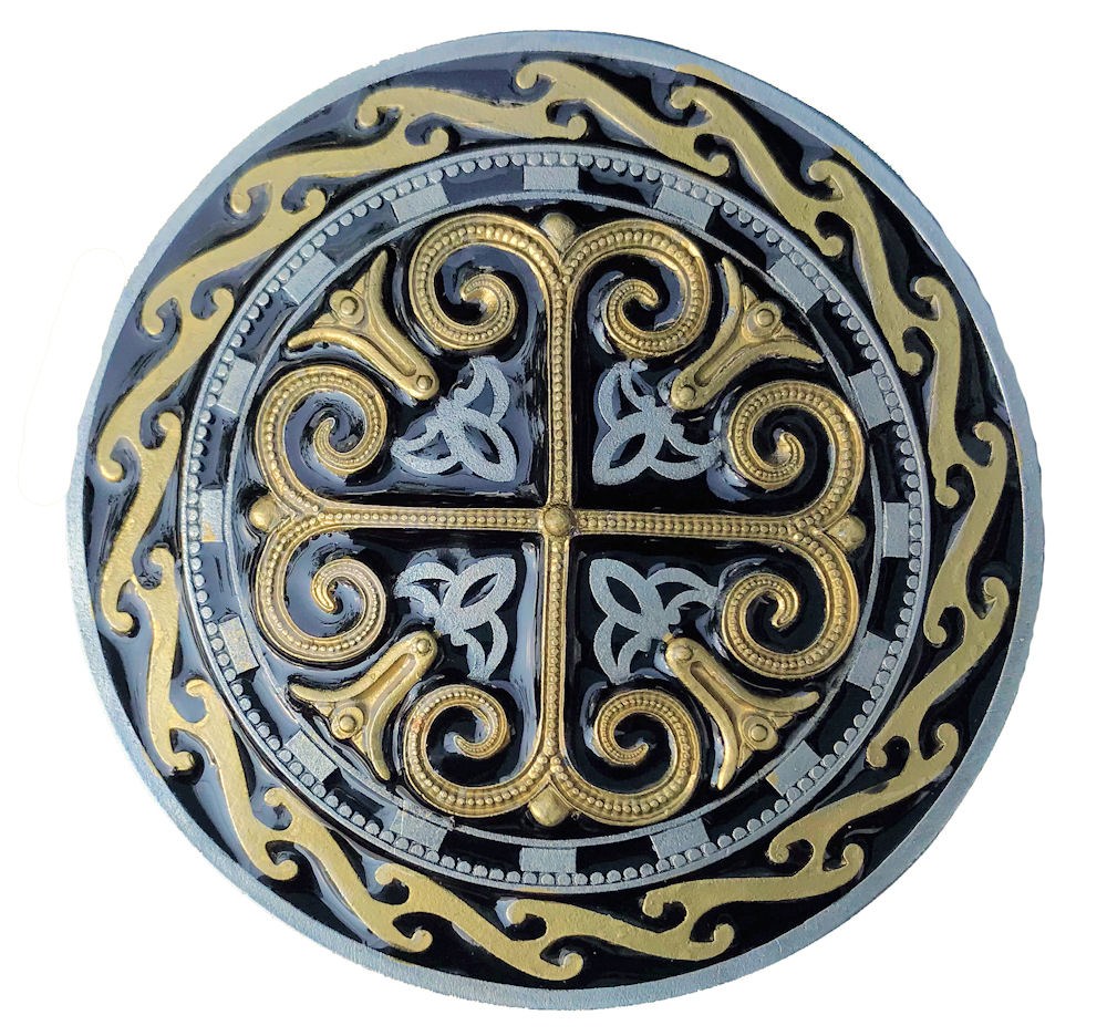 Celtic Round Cross Black & Gold