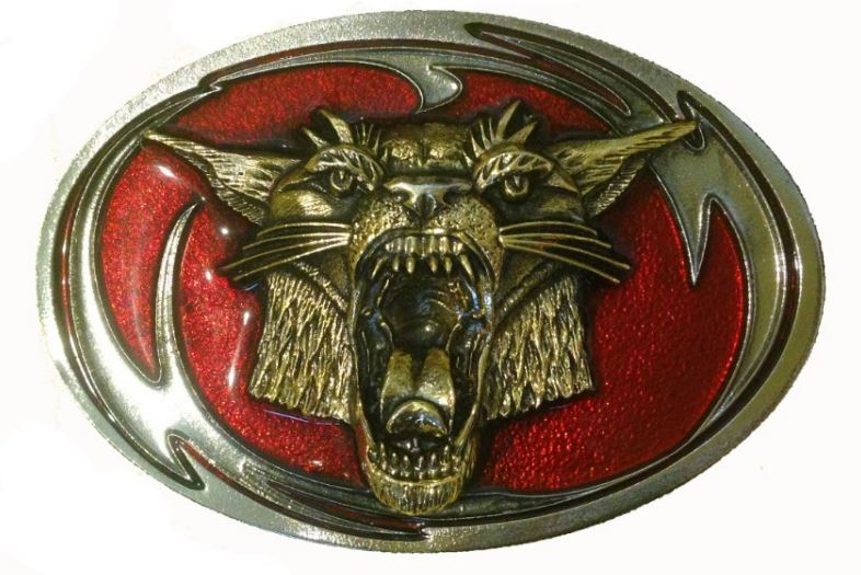 Wild Cat Tribal Gold & Silver Plated Red Belt Buckle