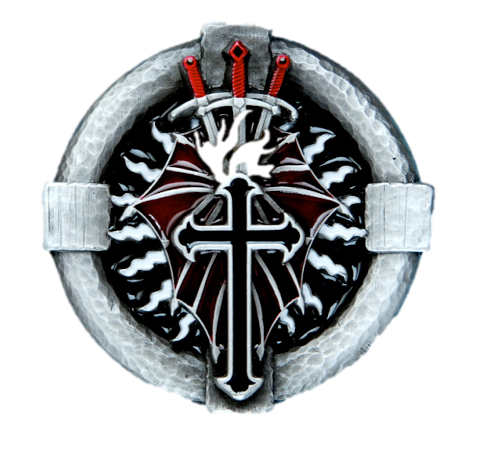 Cross and Daggers Belt Buckle