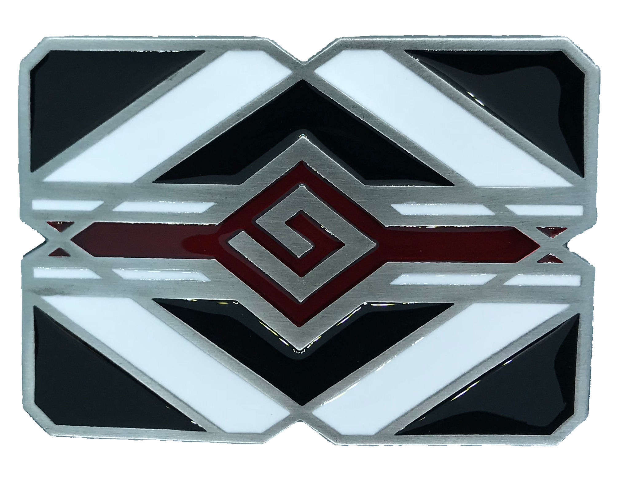 Indian Aztec  Black & White Belt Buckle