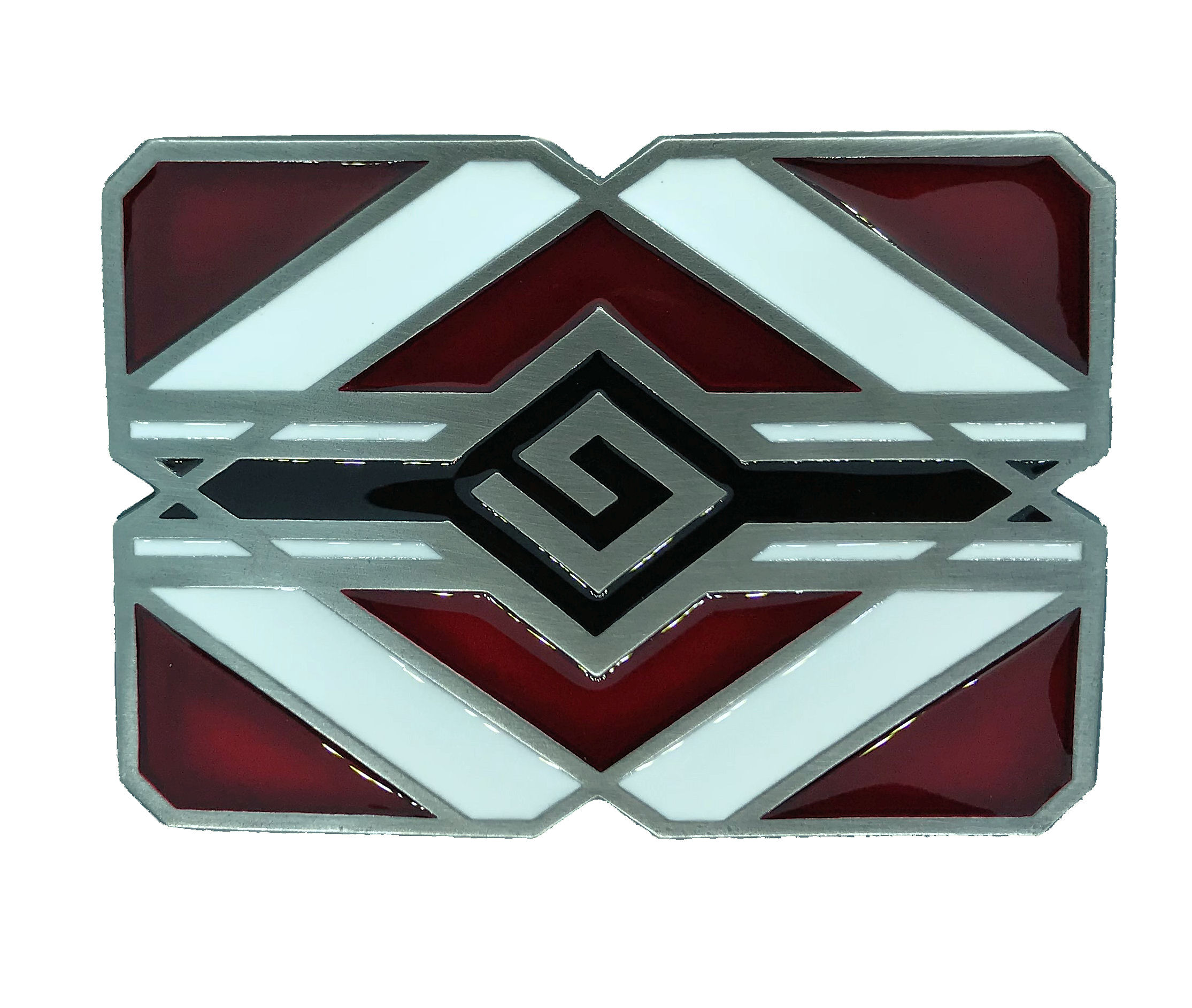 Indian Aztec Red & White Belt Buckle