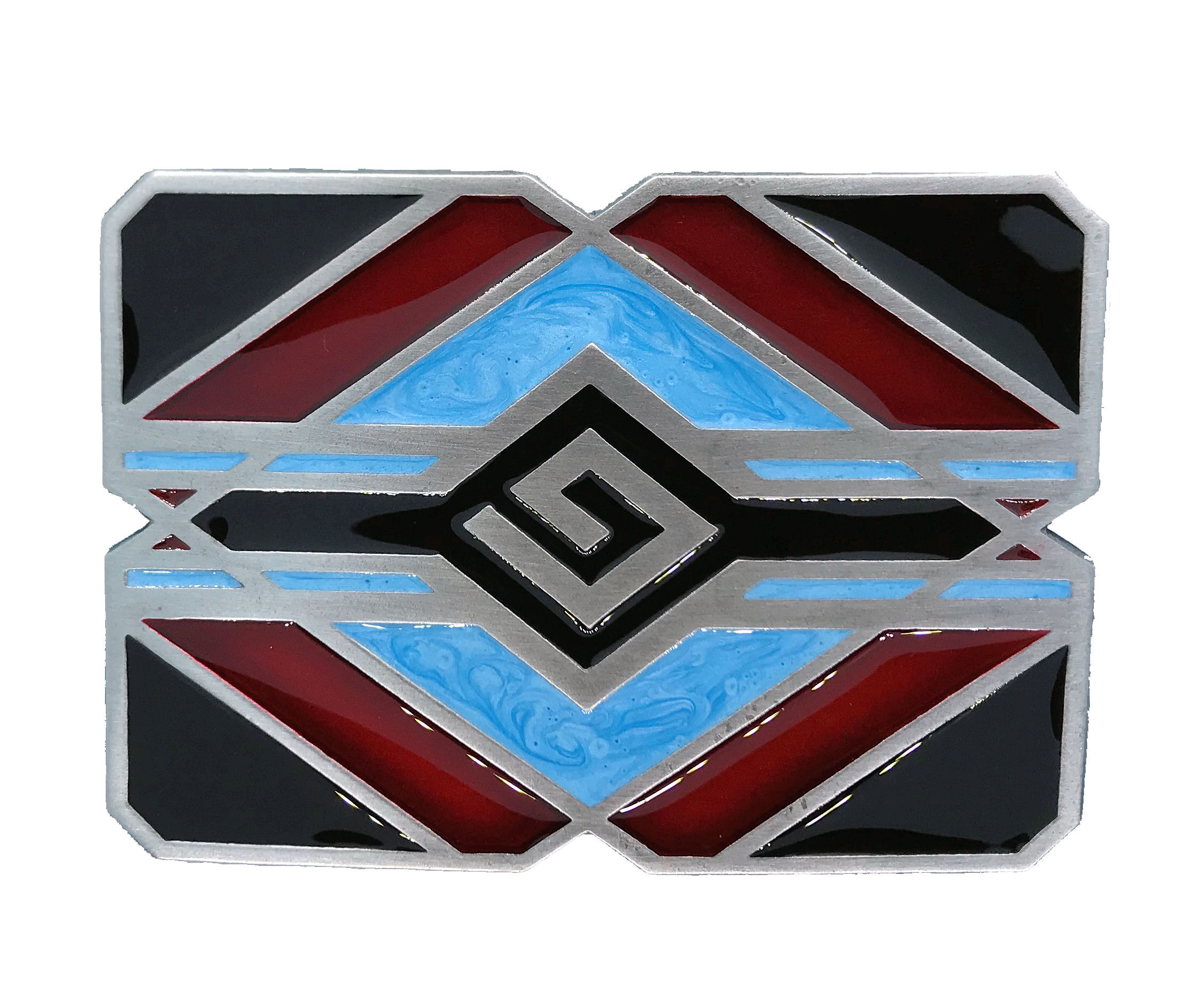 Indian Aztec Turquoise & Red Belt Buckle
