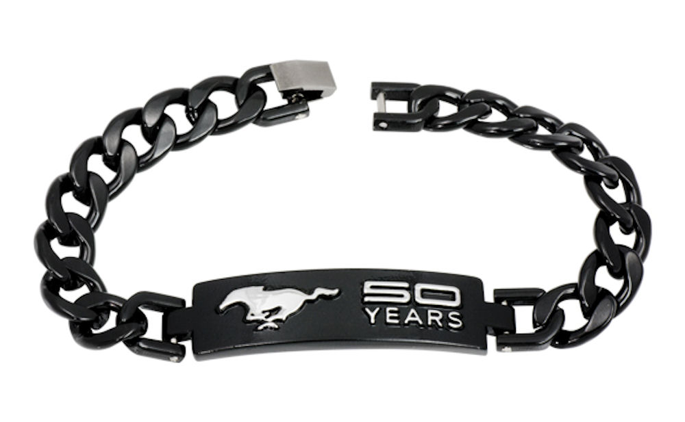 Ford Mustang 50th Anniversary Unisex Metal Bracelet with Black Coating