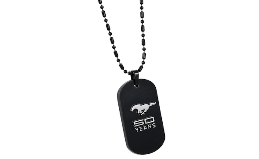 Ford Mustang 50th Anniversary Black Dog Tag on Chain
