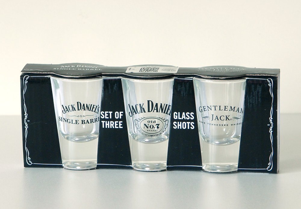 JACK DANIELS SET OF THREE SHOT GLASSES OFFICIALLY LICENSED
