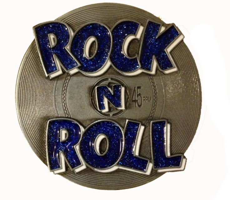 Rock & Roll Blue Glitter Belt Buckle