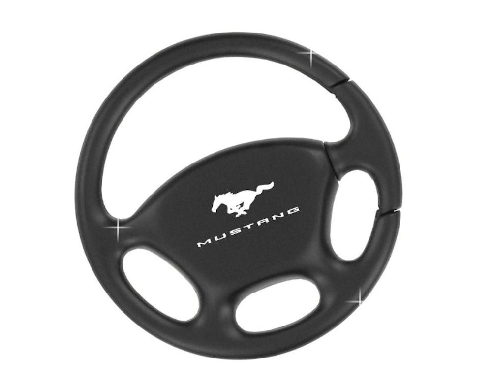 Ford Mustang Black Plated Steering Wheel Keychain