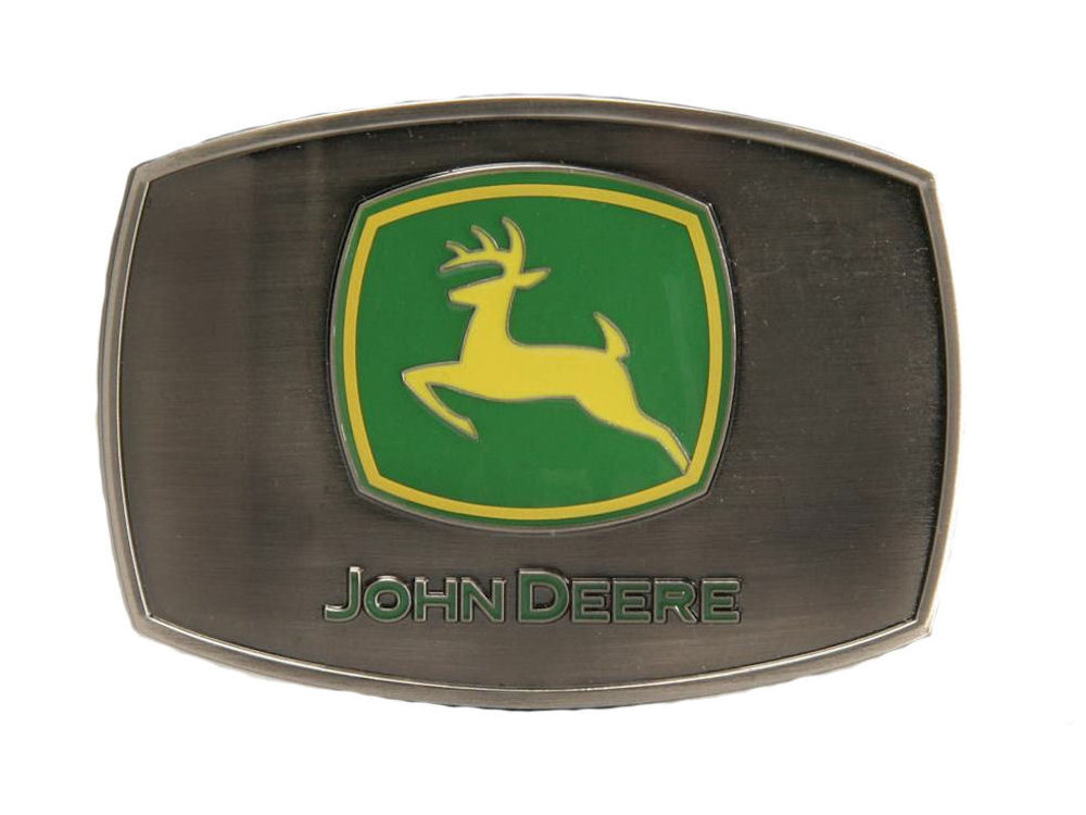 John Deere Antique Pewter Enamel Belt Buckle