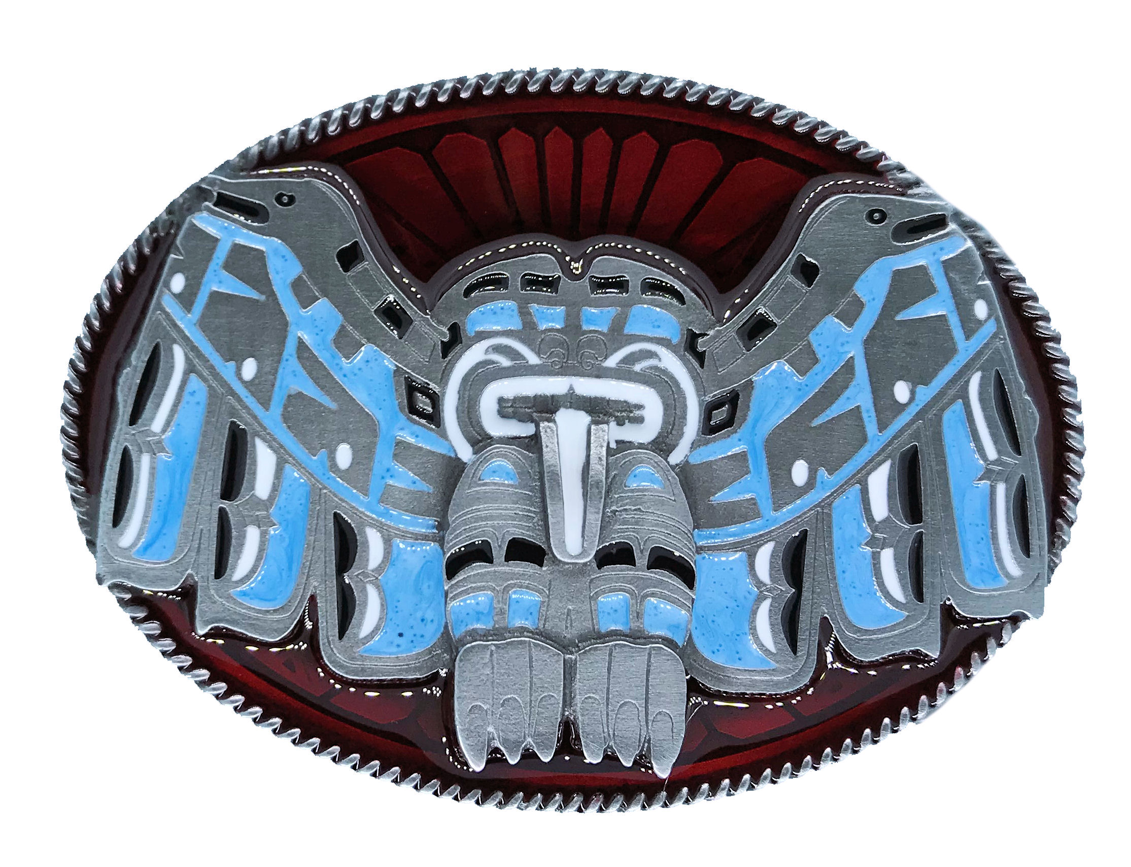 Totem Western Red & Turquoise Belt Buckle